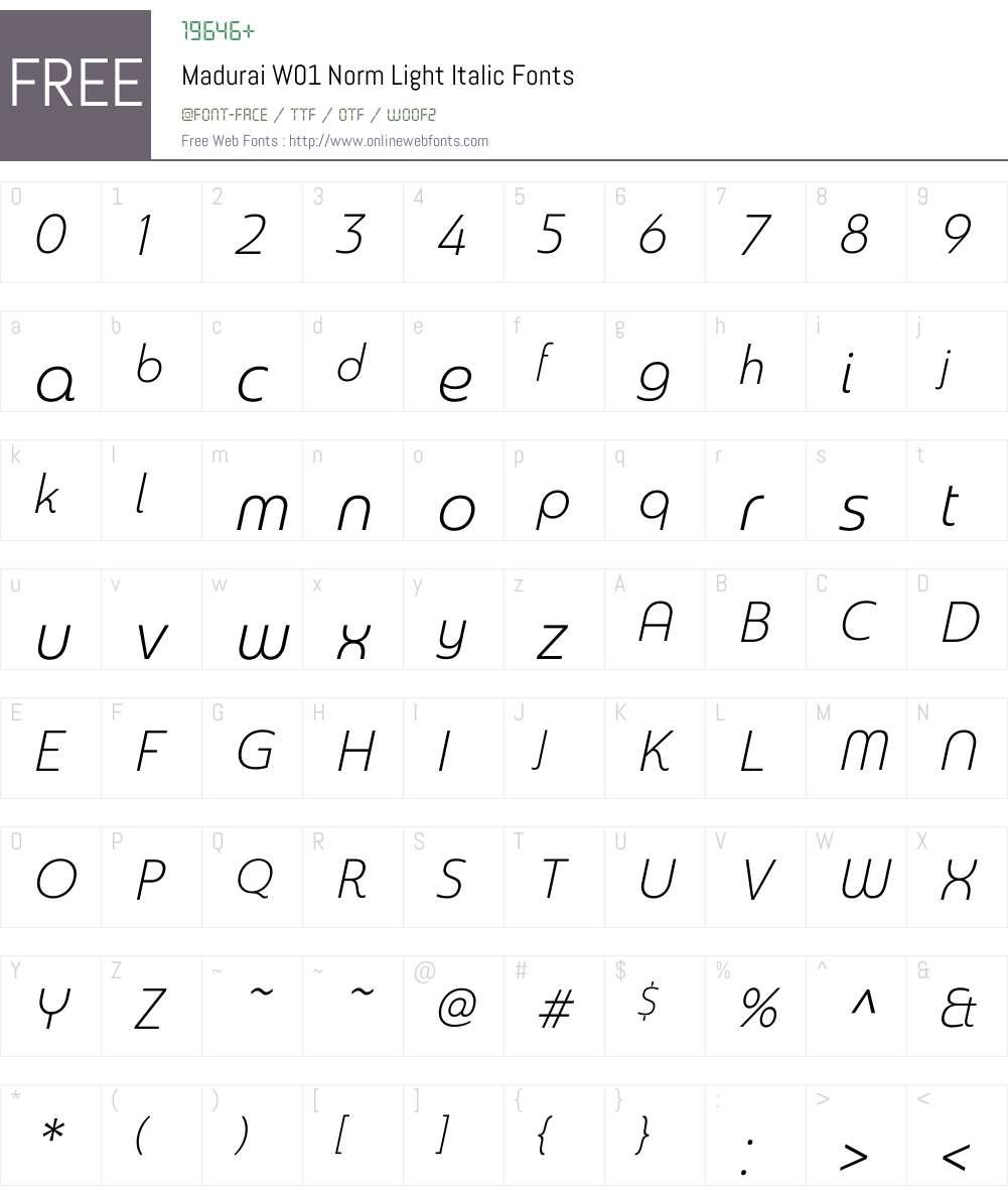 MaduraiW01-NormLightItalic Font Screenshots