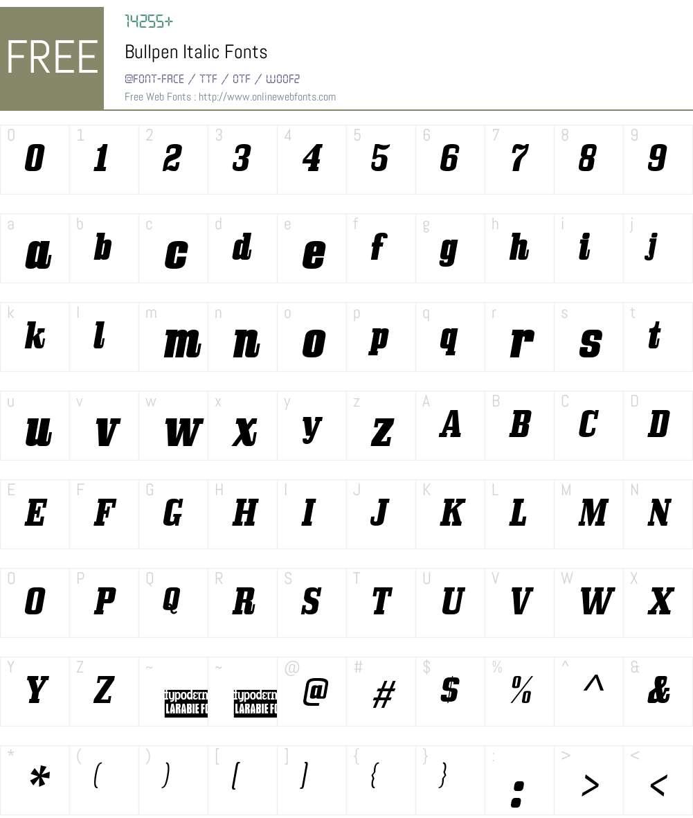 Bullpen Font Screenshots