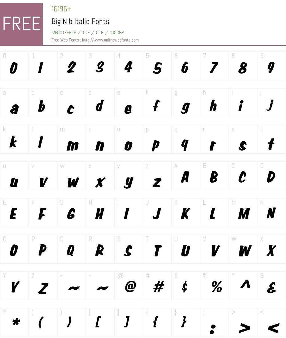 Big Nib Font Screenshots
