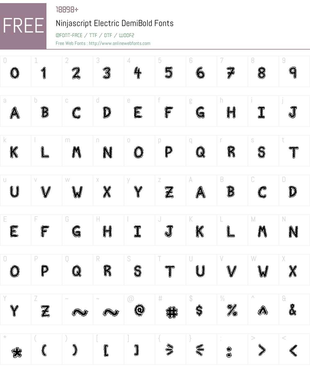 Ninjascript Electric Font Screenshots