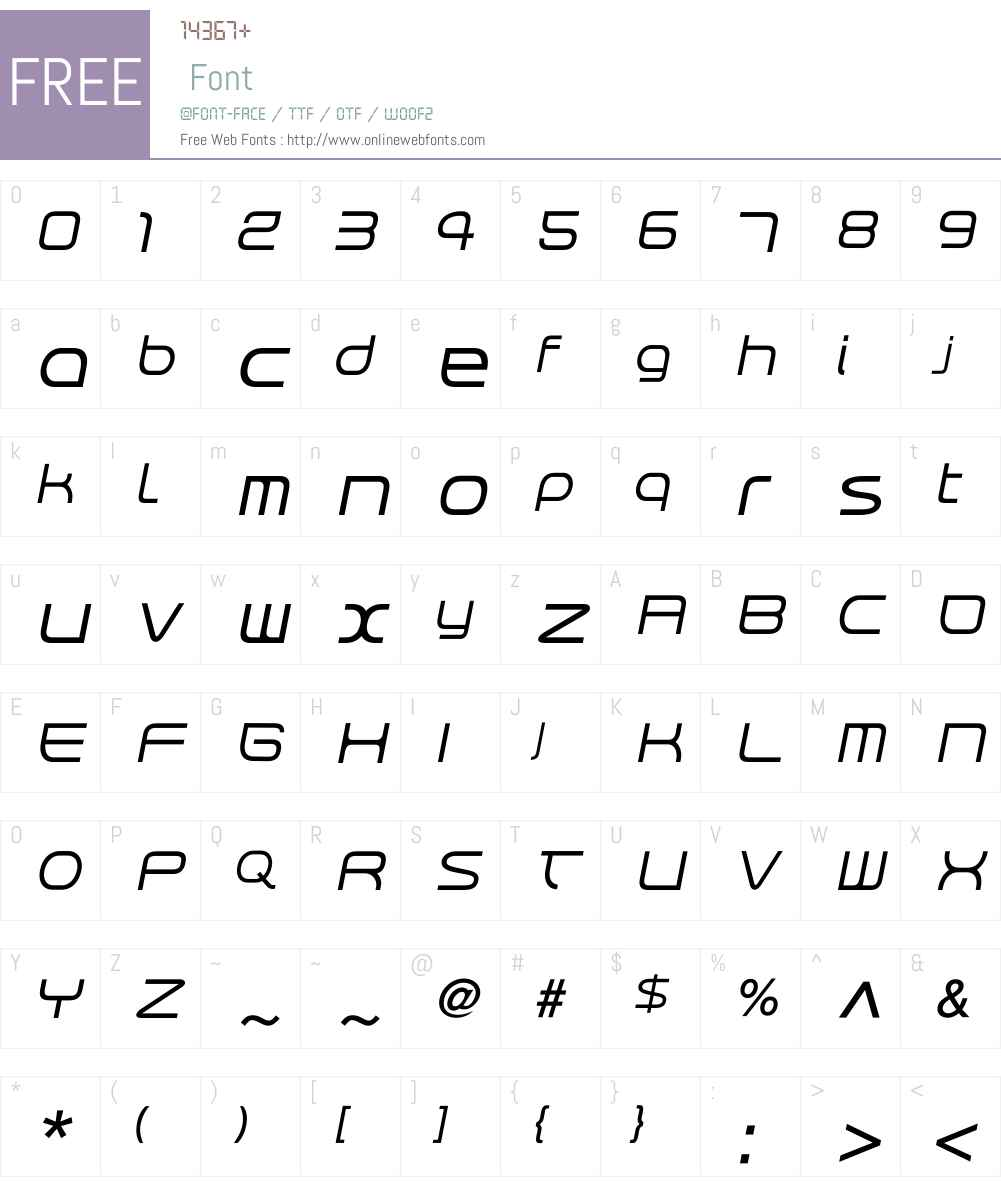 RendtPhysic Oblique Font Screenshots