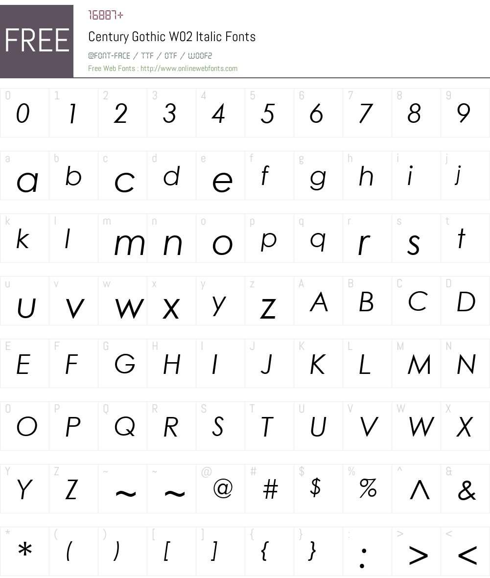 CenturyGothicW02-Italic Font Screenshots