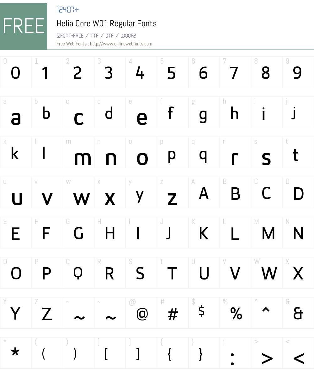HeliaCoreW01-Regular Font Screenshots