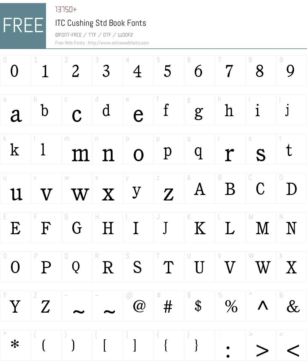 ITC Cushing Std Font Screenshots
