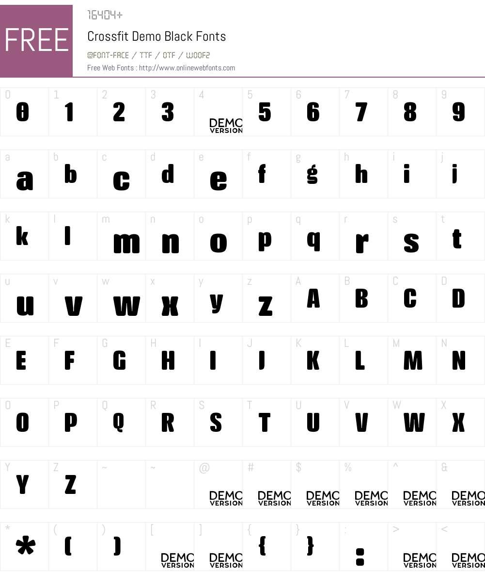 Crossfit Demo Black Font Screenshots