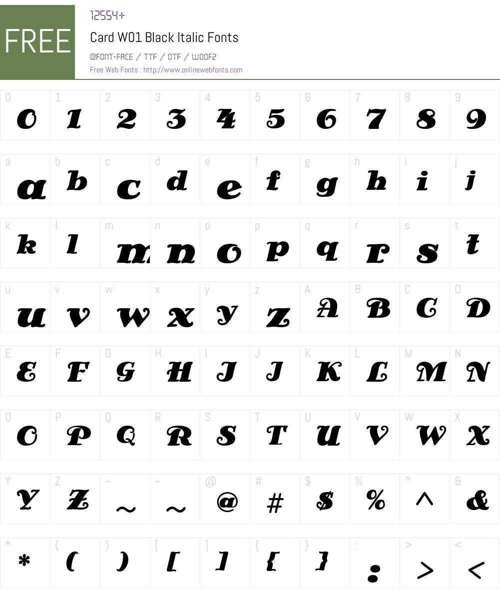 CardW01-BlackItalic Font Screenshots