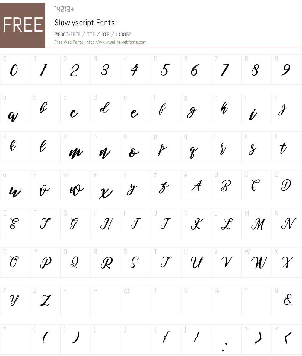 Slowly script Font Screenshots