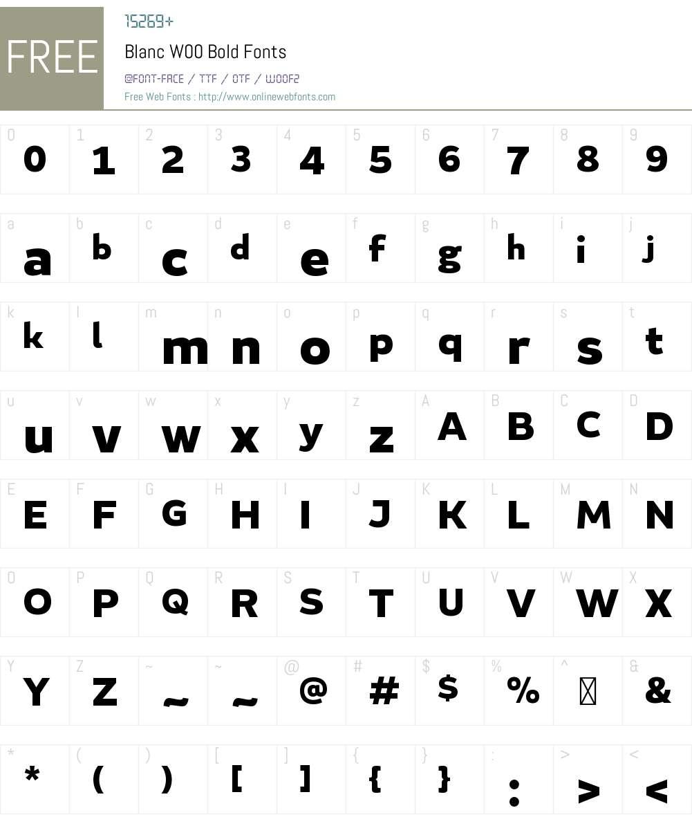 BlancW00-Bold Font Screenshots