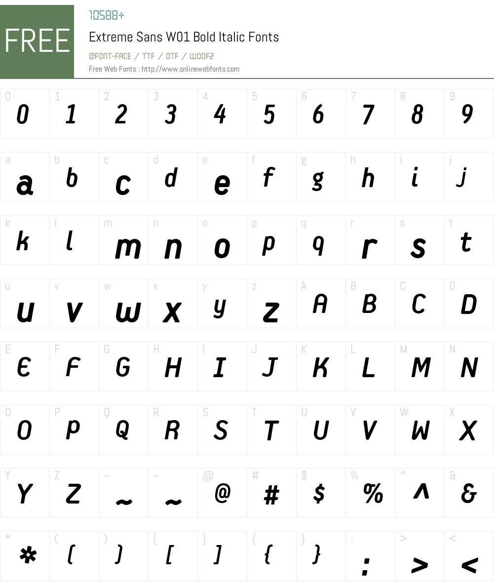 ExtremeSansW01-BoldItalic Font Screenshots