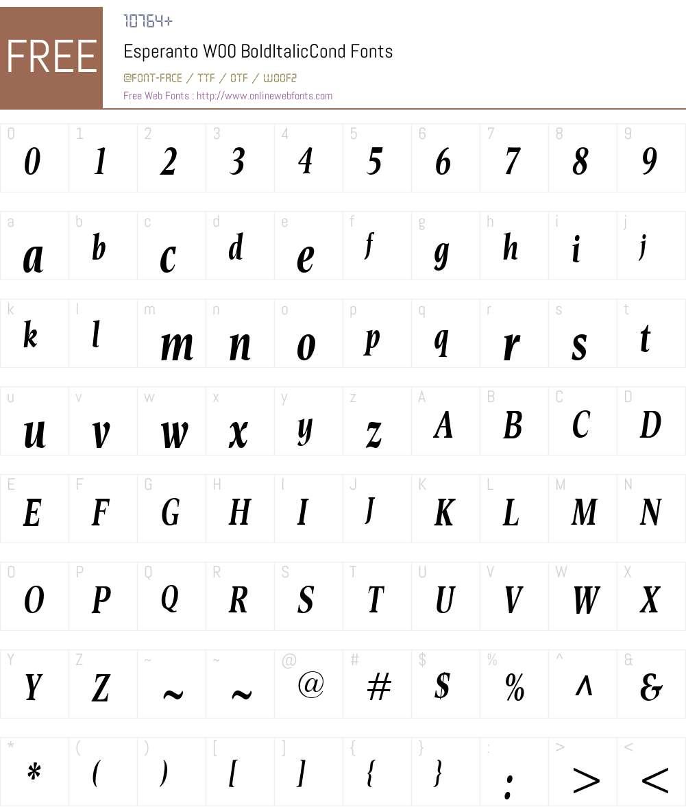EsperantoW00-BoldItalicCond Font Screenshots