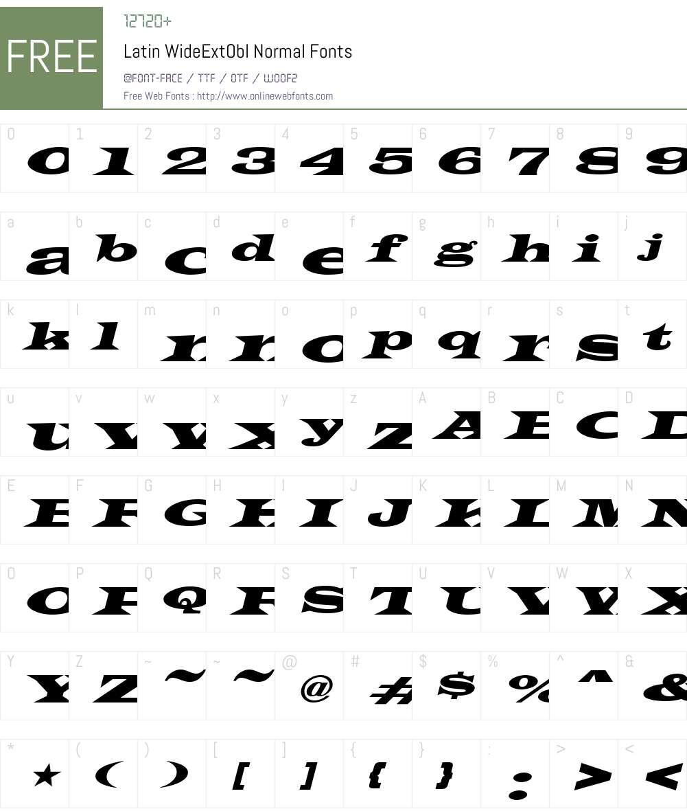 Latin-WideExtObl Font Screenshots