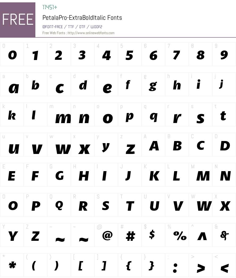 Petala Pro ExtraBold Italic Font Screenshots