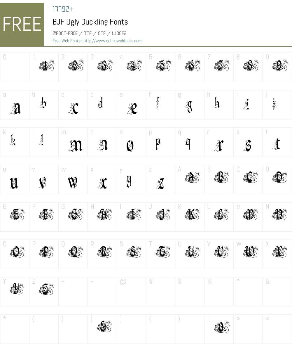 BJF Ugly Duckling Font Screenshots