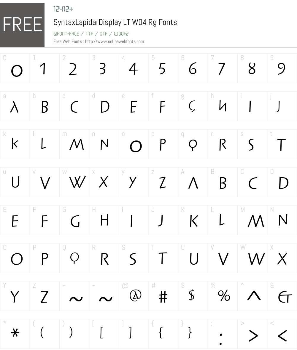 Linotype Syntax Lapidar Display Font Screenshots