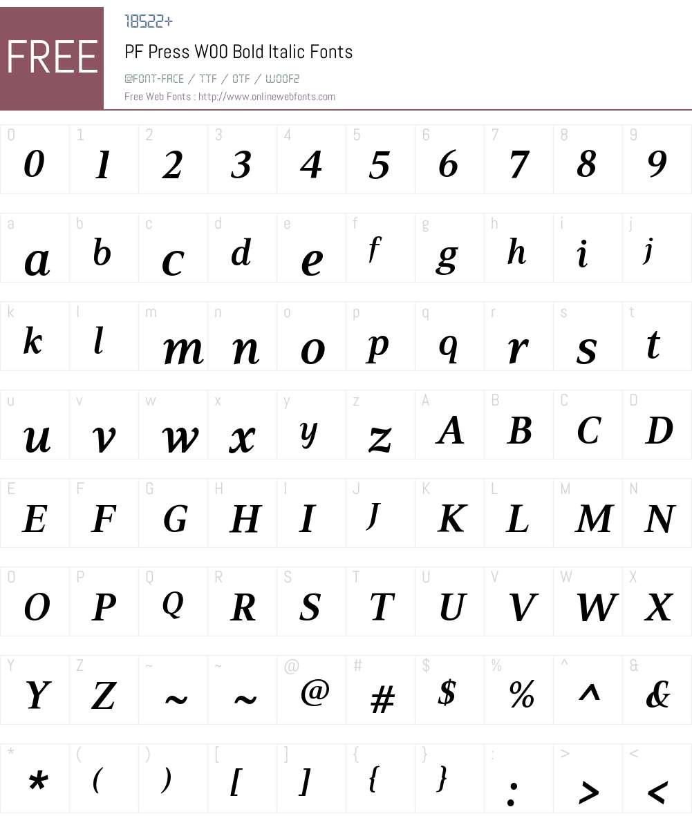 PFPressW00-BoldItalic Font Screenshots