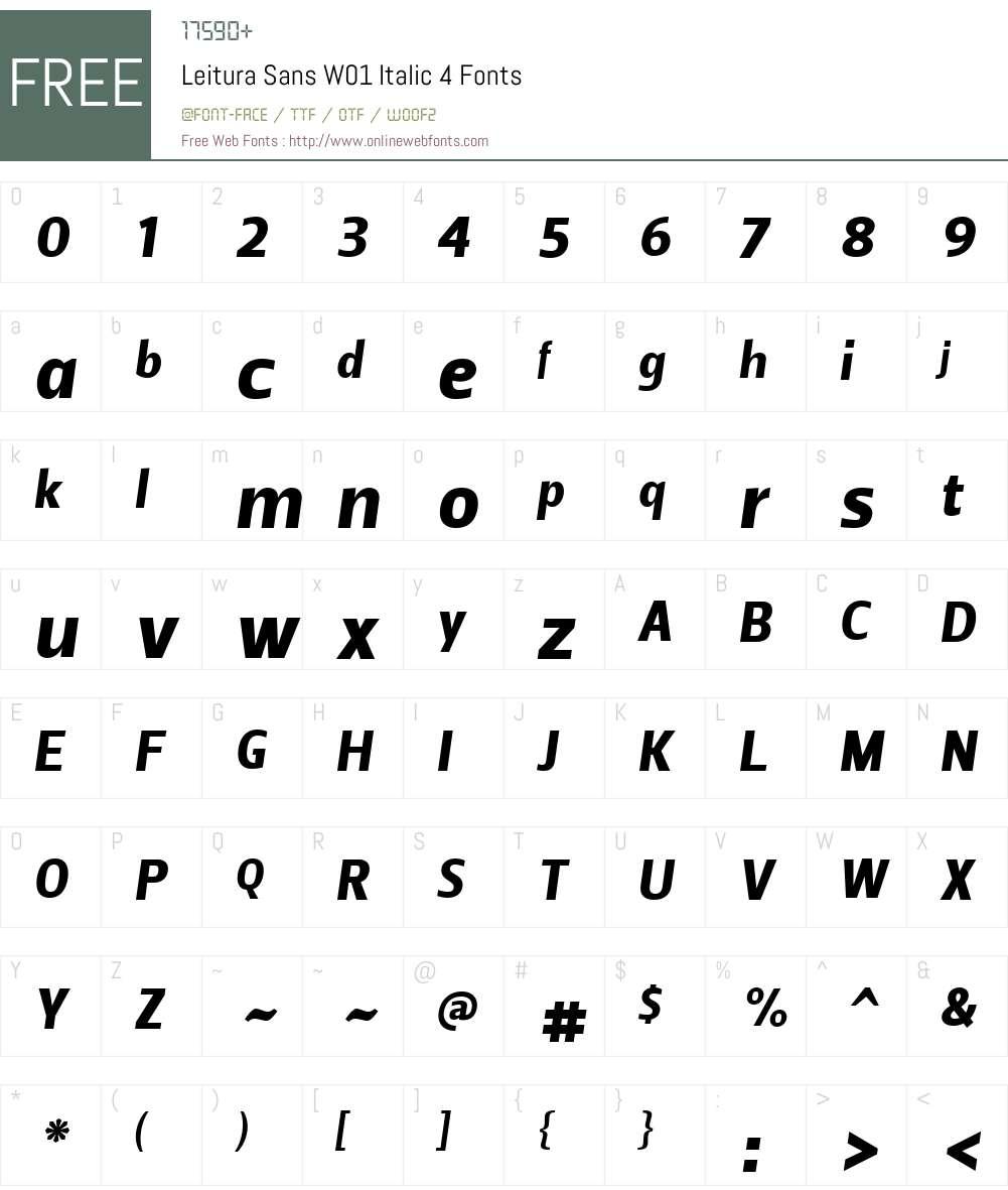 LeituraSansW01-Italic4 Font Screenshots