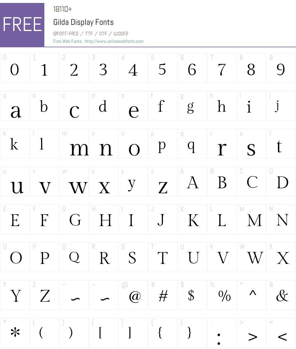 Gilda Display Font Screenshots