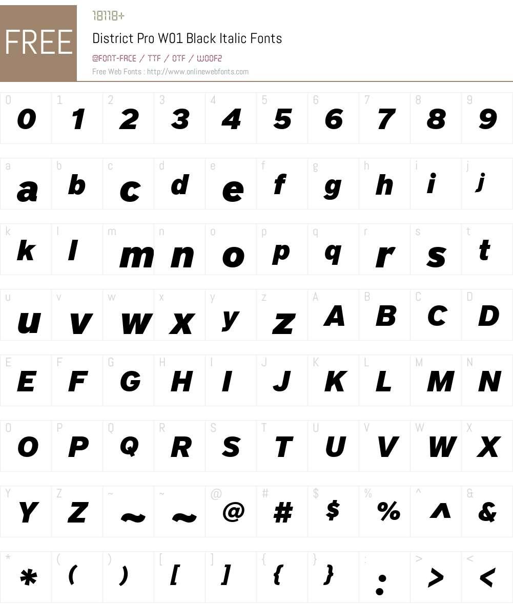 DistrictProW01-BlackItalic Font Screenshots