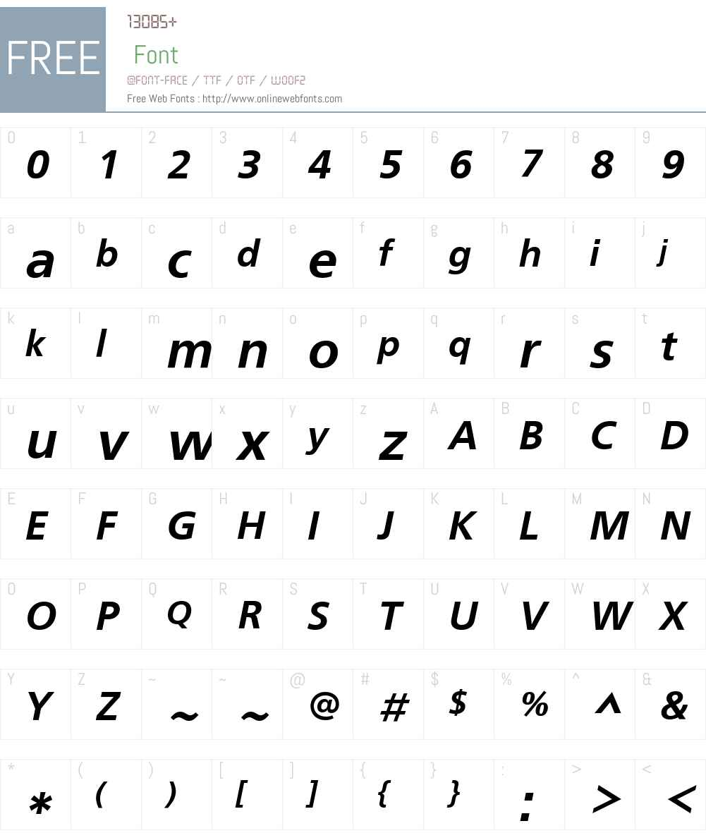 FreeSetC Font Screenshots