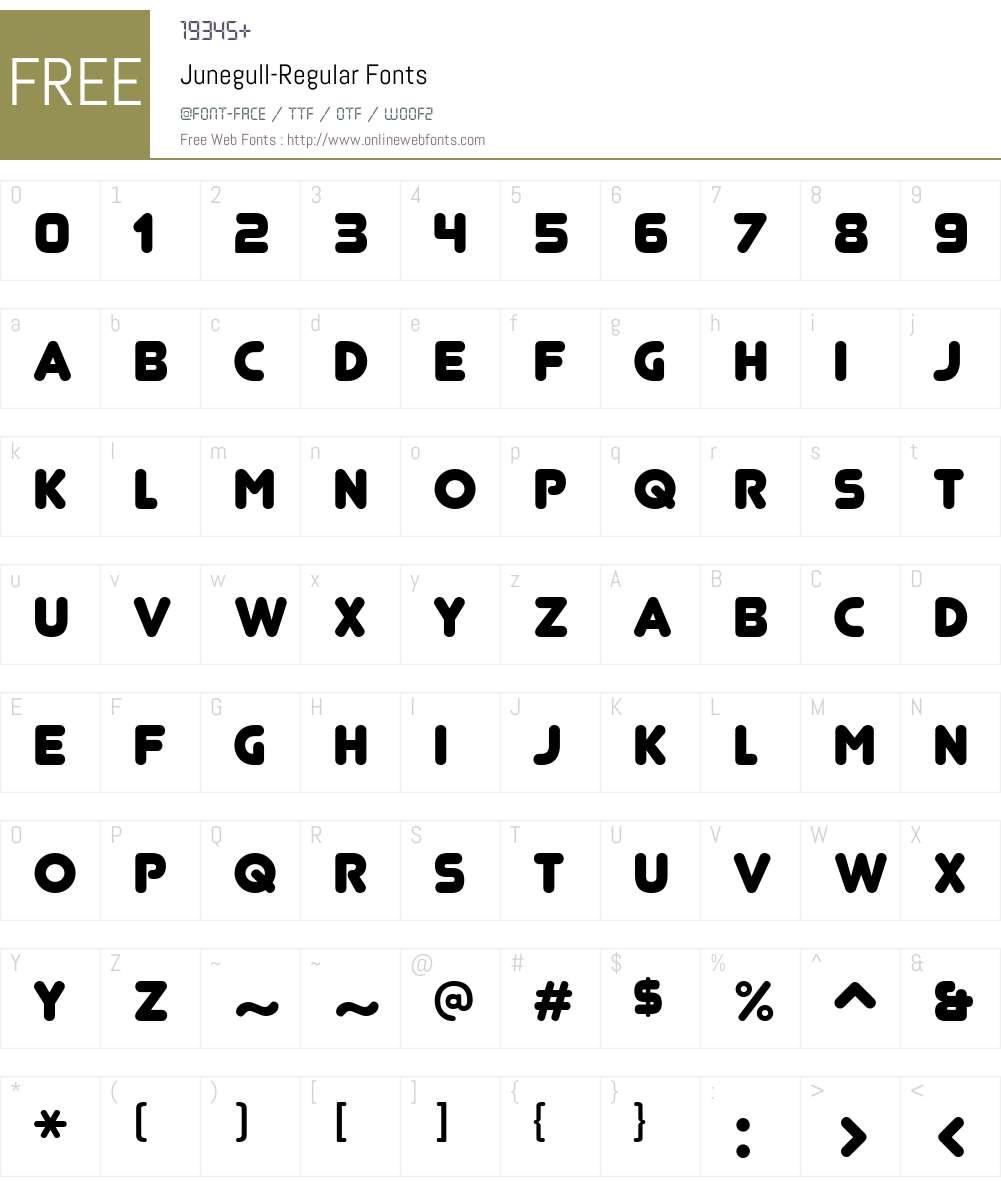 Junegull Font Screenshots