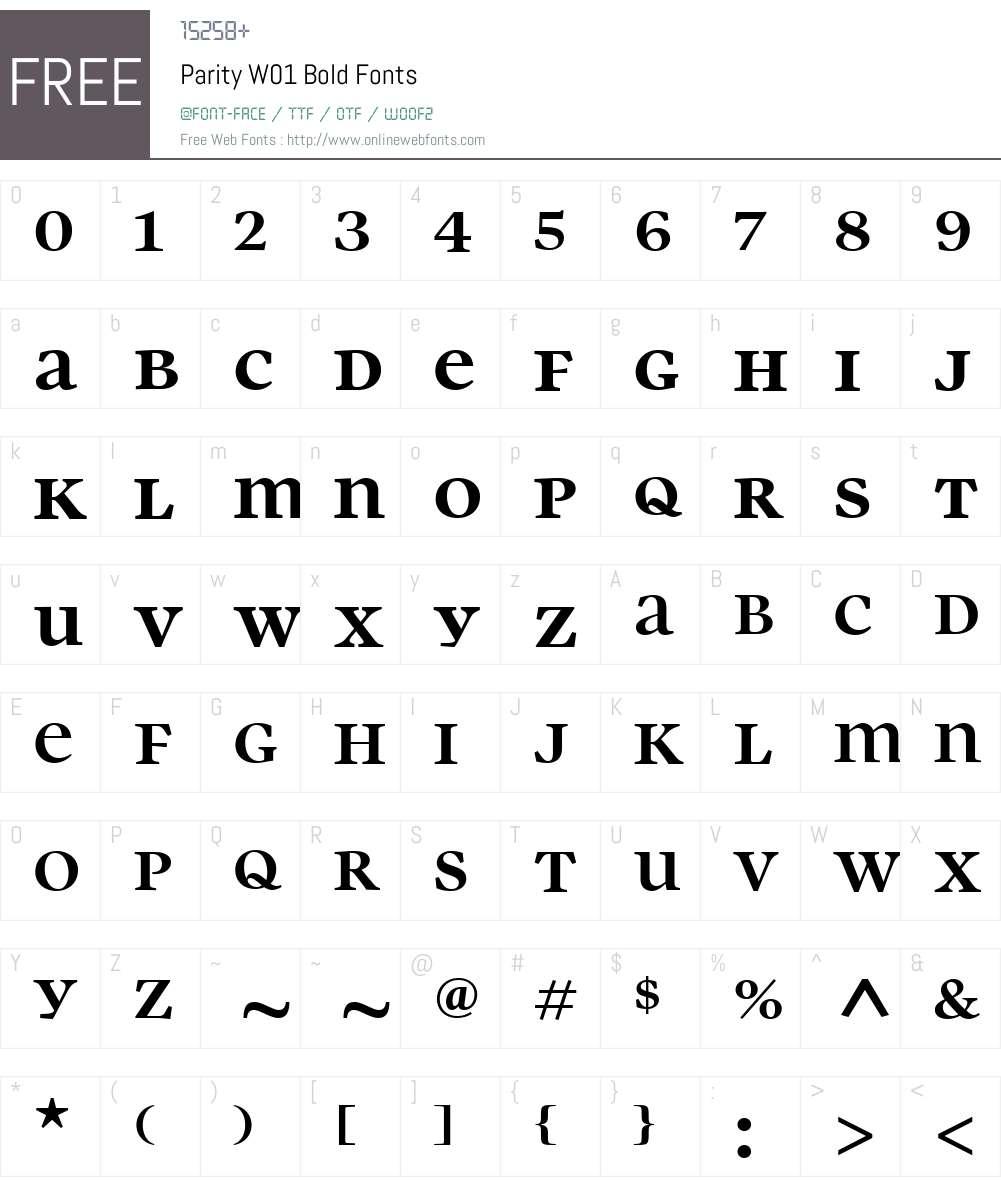 ParityW01-Bold Font Screenshots