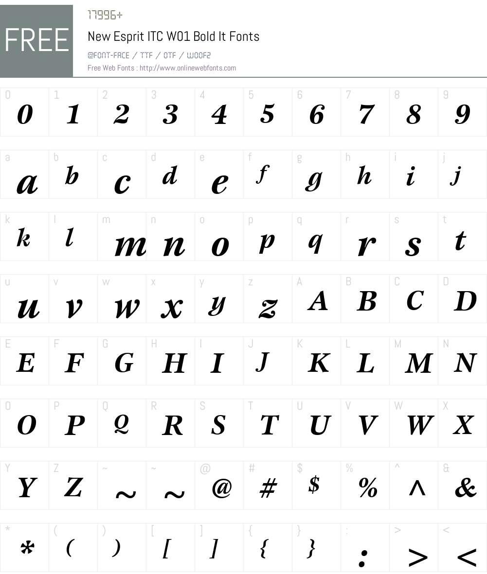 NewEspritITCW01-BoldIt Font Screenshots