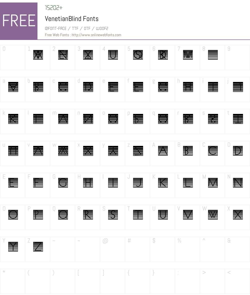 VenetianBlind Font Screenshots