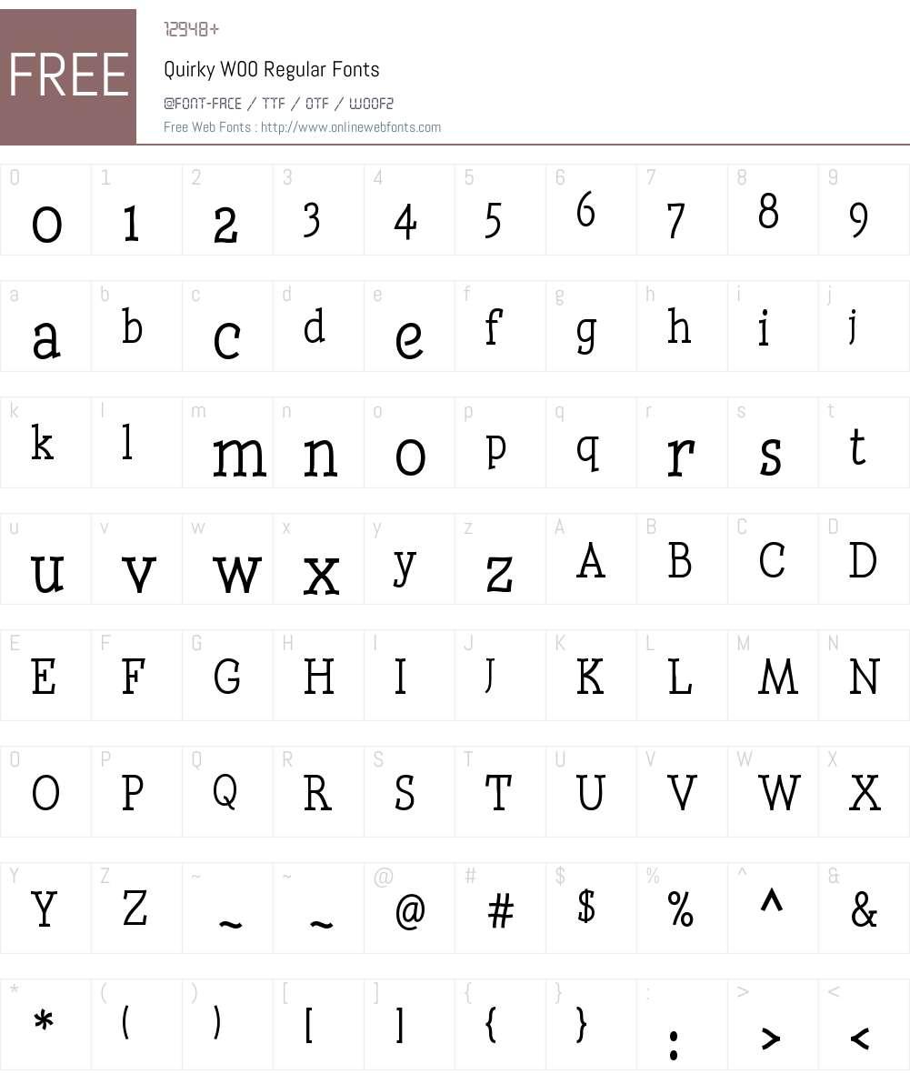 QuirkyW00-Regular Font Screenshots