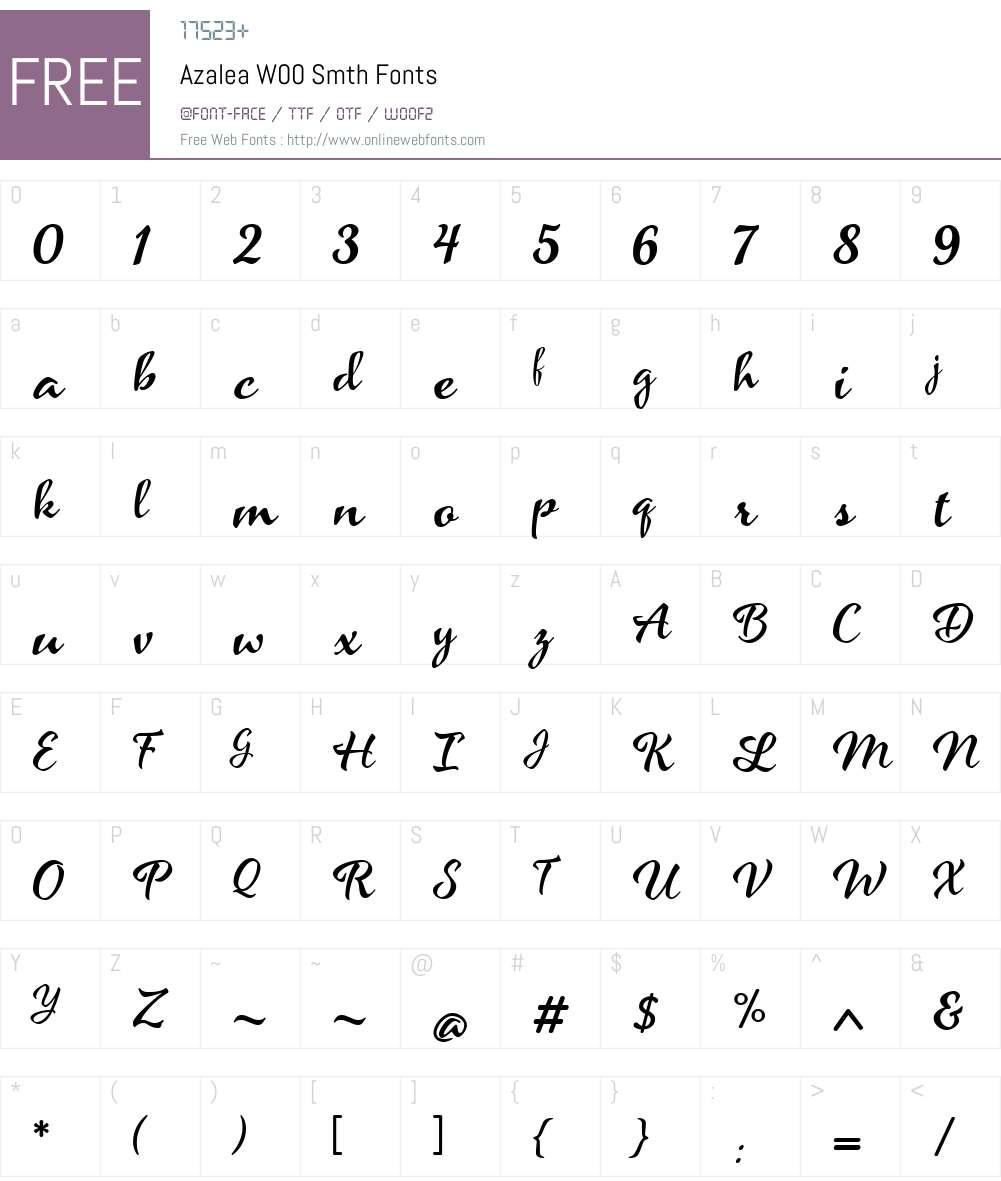 AzaleaW00-Smth Font Screenshots