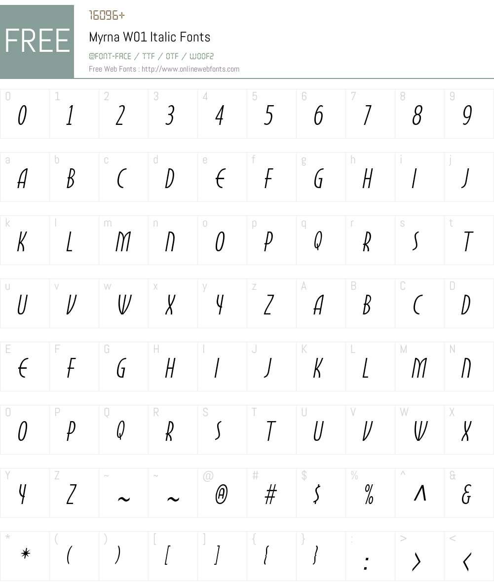 MyrnaW01-Italic Font Screenshots