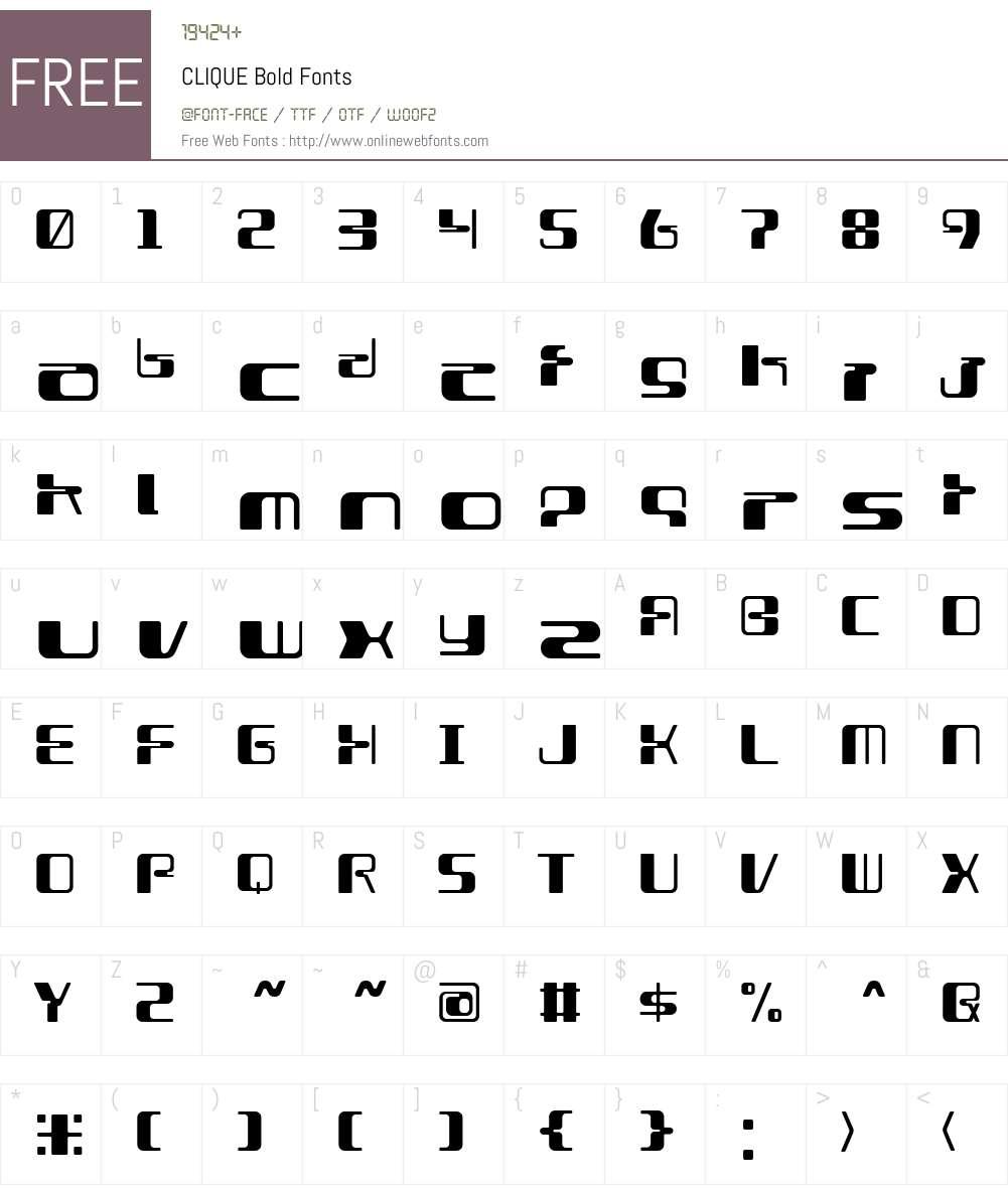CLIQUE Bold Font Screenshots