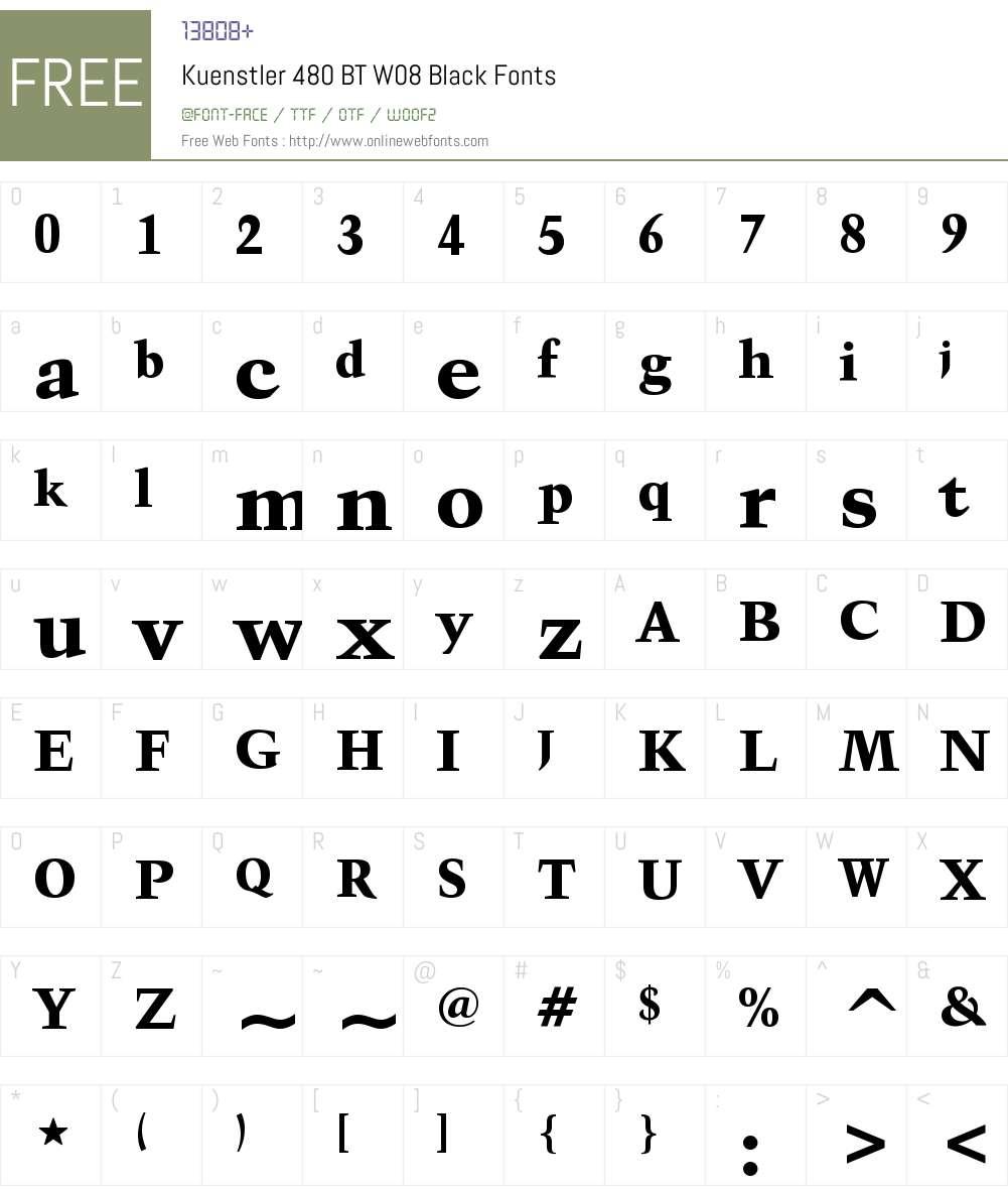 Kuenstler480BTW08-Black Font Screenshots