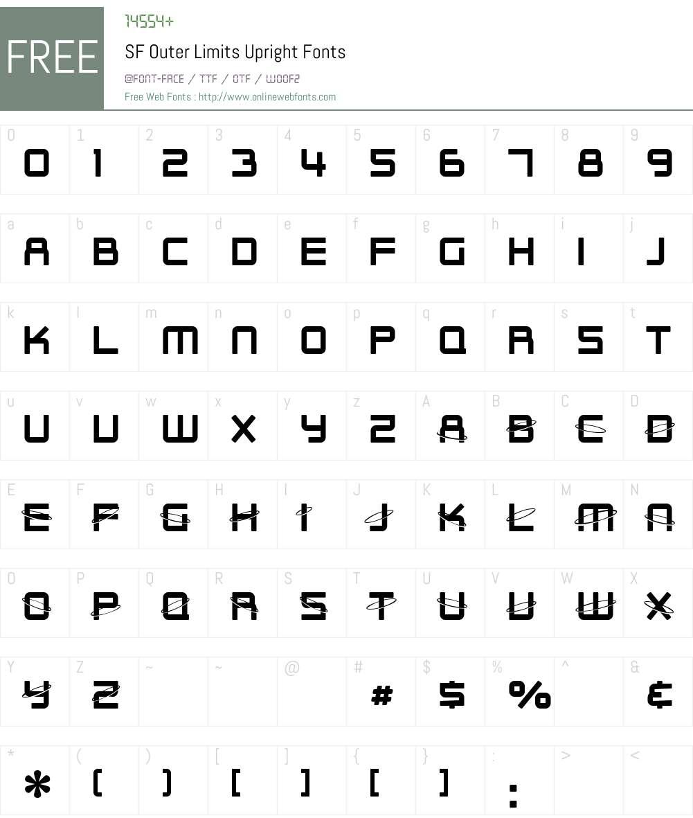 SF Outer Limits Upright Font Screenshots
