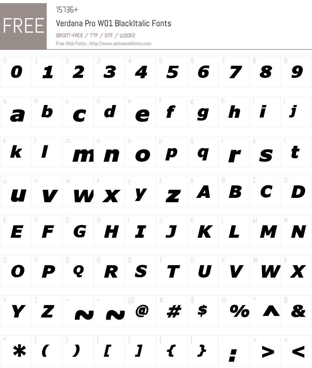 VerdanaProW01-BlackItalic Font Screenshots