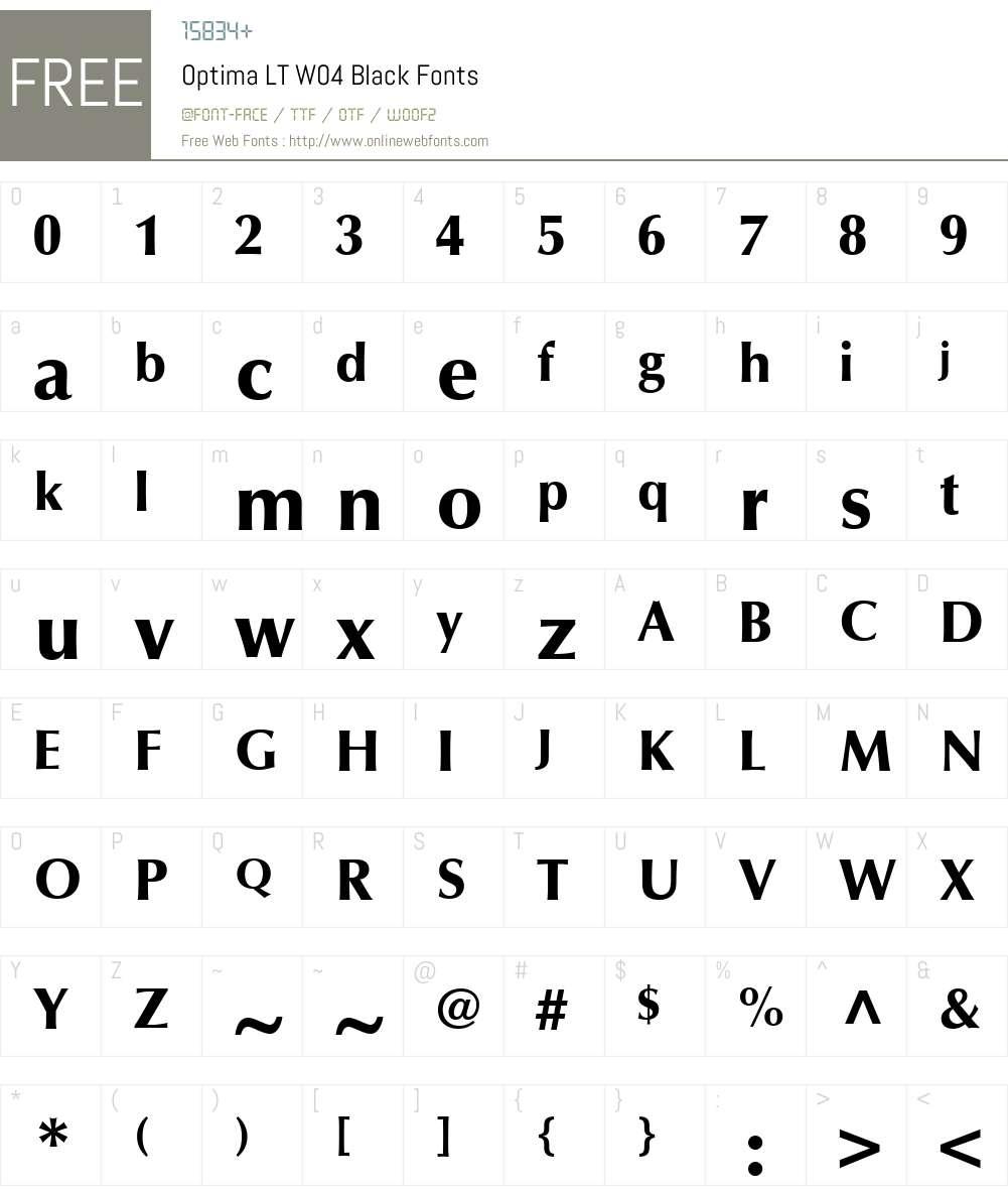 Optima Font Screenshots