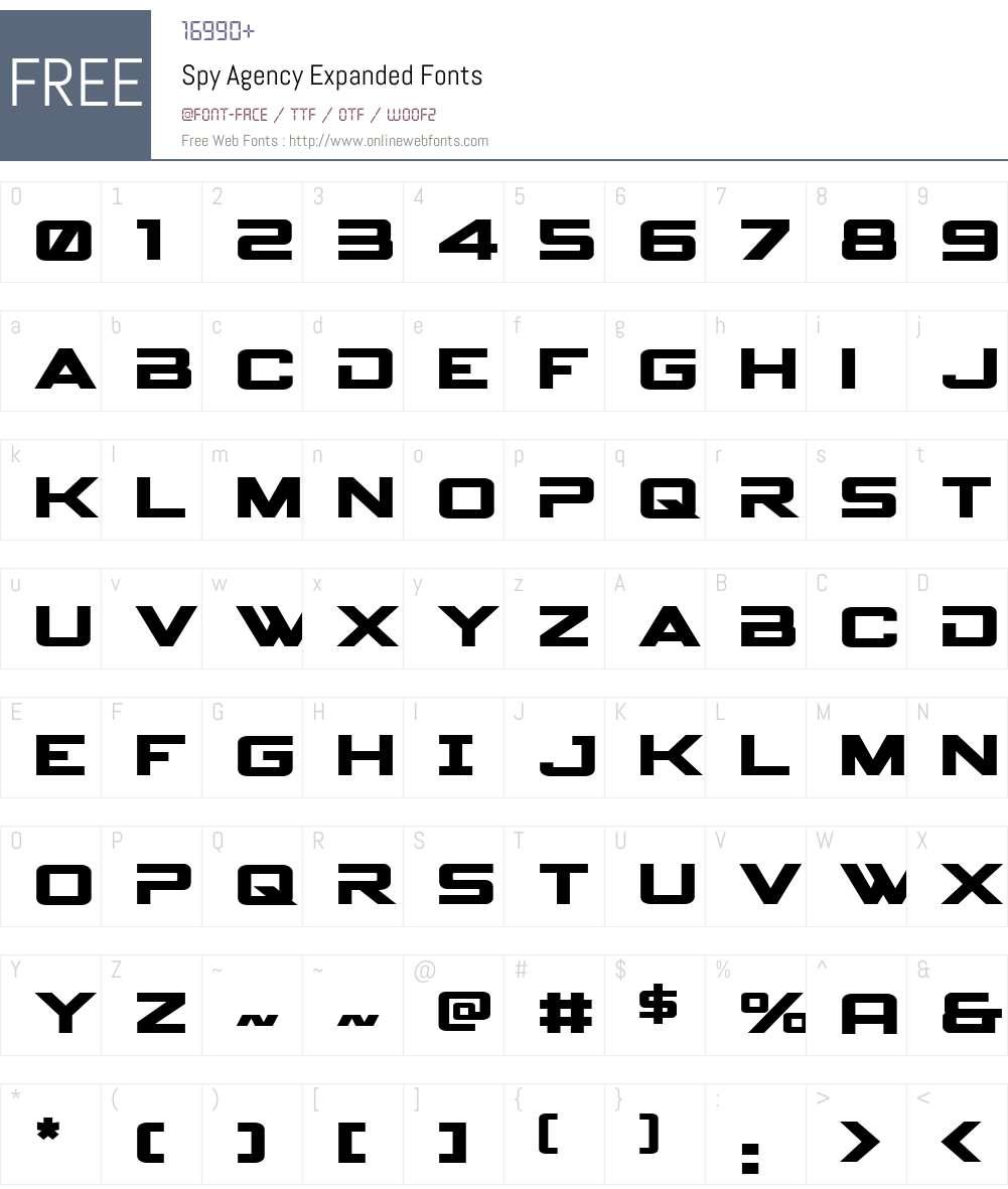 Spy Agency Expanded Font Screenshots