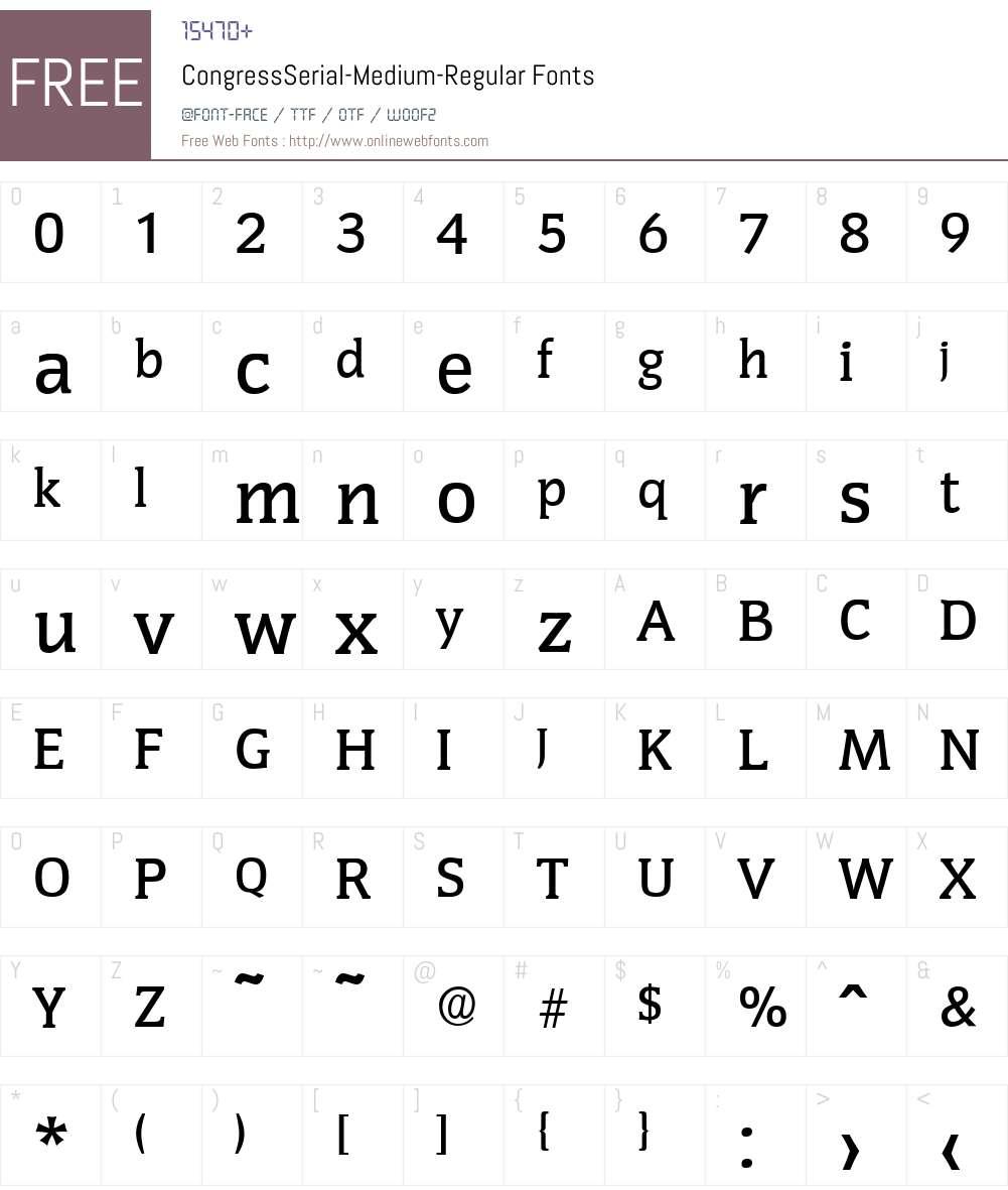 CongressSerial-Medium Font Screenshots