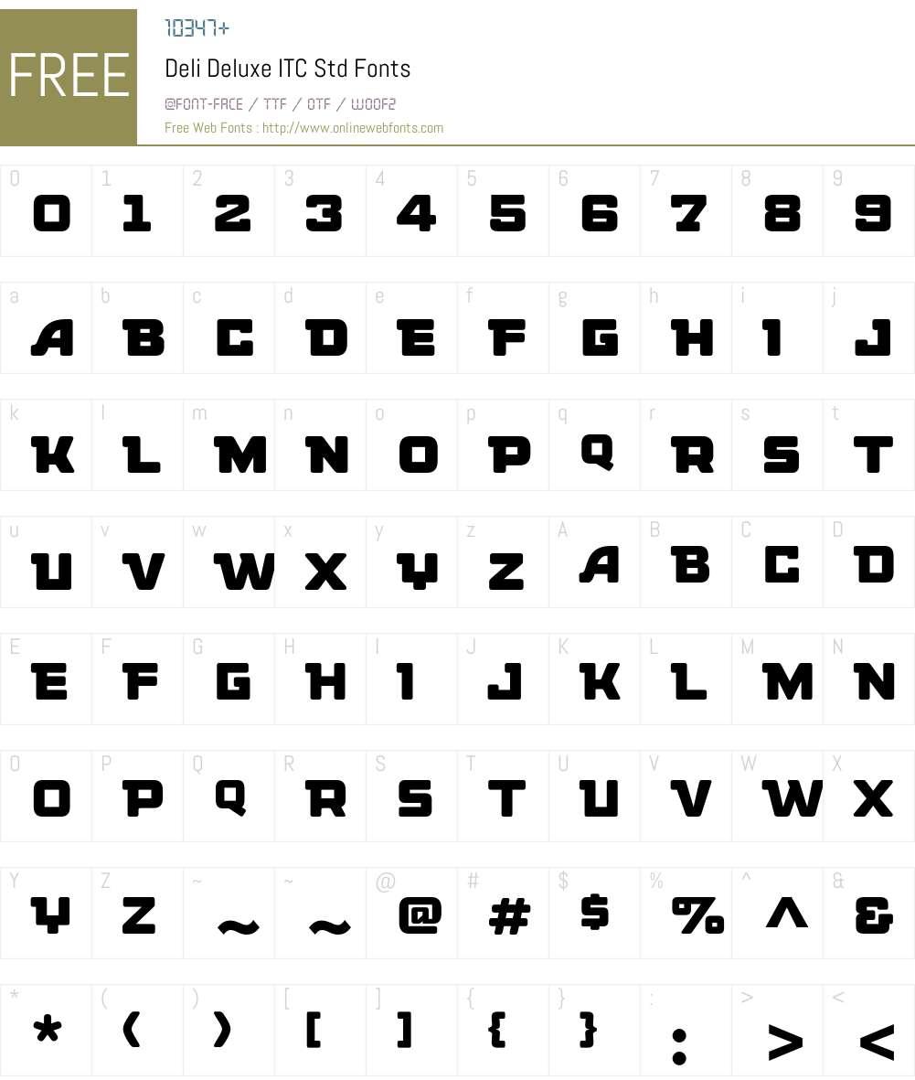 Deli Deluxe ITC Std Font Screenshots