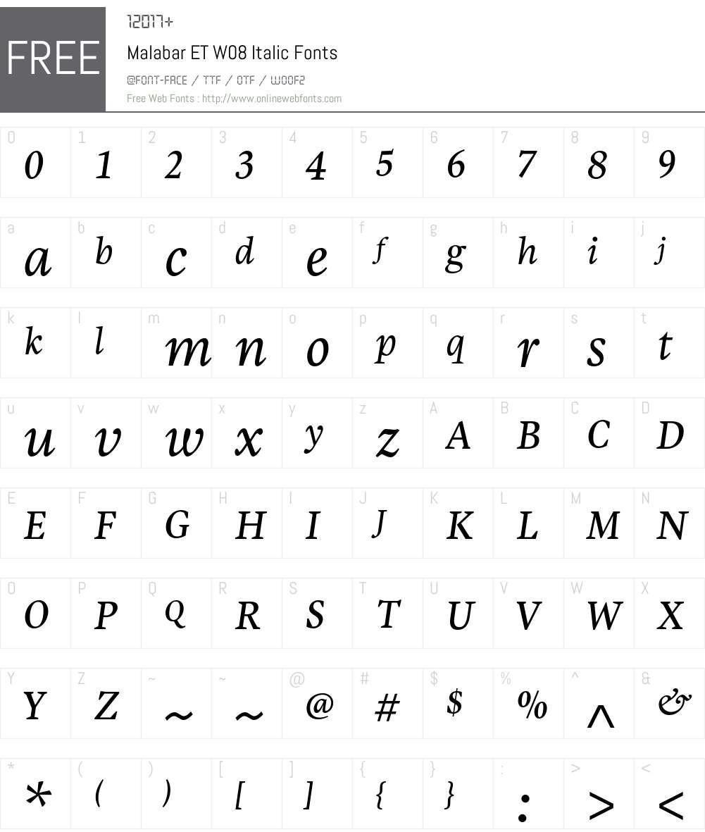 Malabar eText Font Screenshots