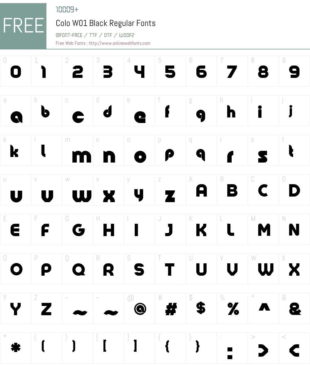 ColoW01-BlackRegular Font Screenshots