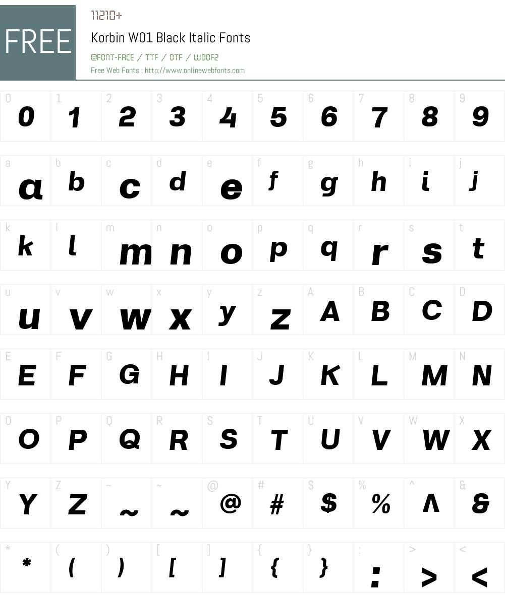 KorbinW01-BlackItalic Font Screenshots