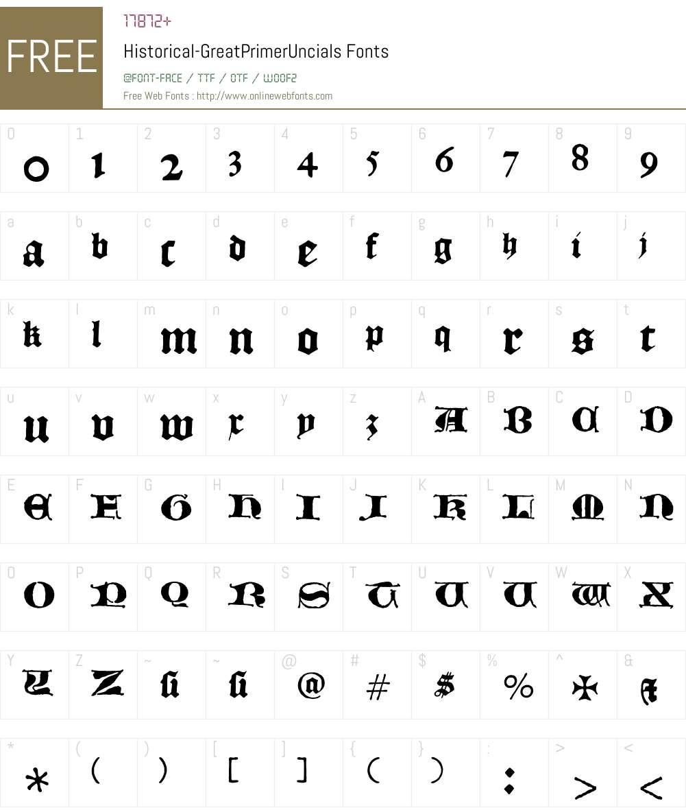 Historical Font Screenshots