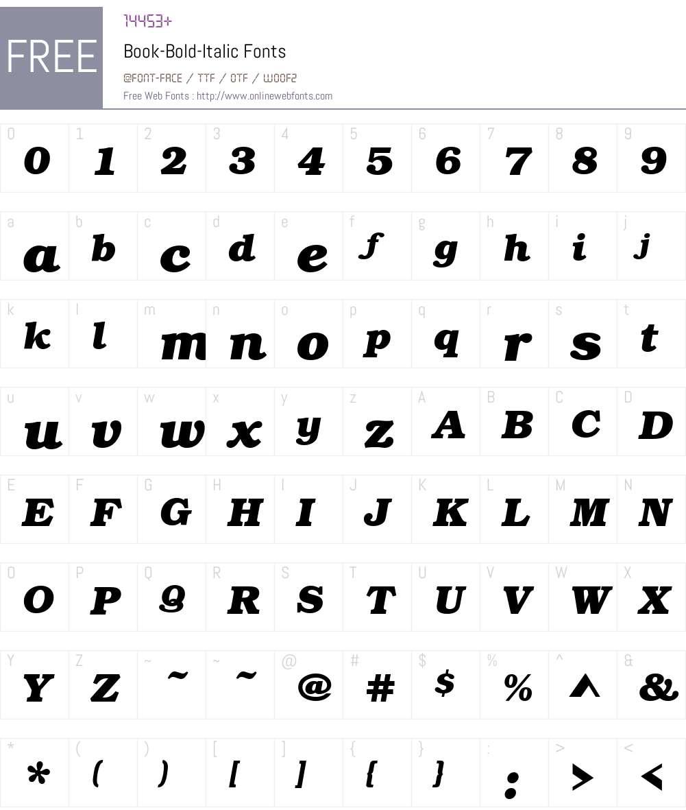 Book-Bold Font Screenshots