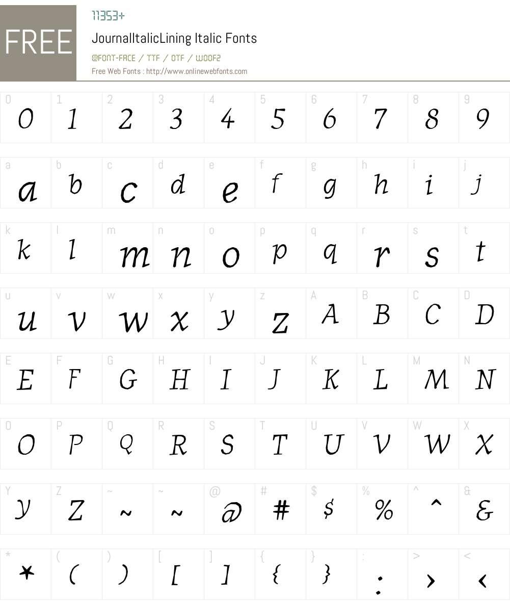 JournalItalicLining Font Screenshots