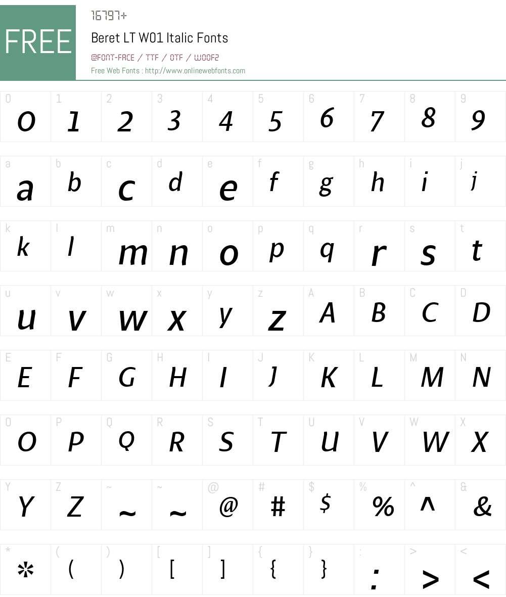 BeretLTW01-Italic Font Screenshots