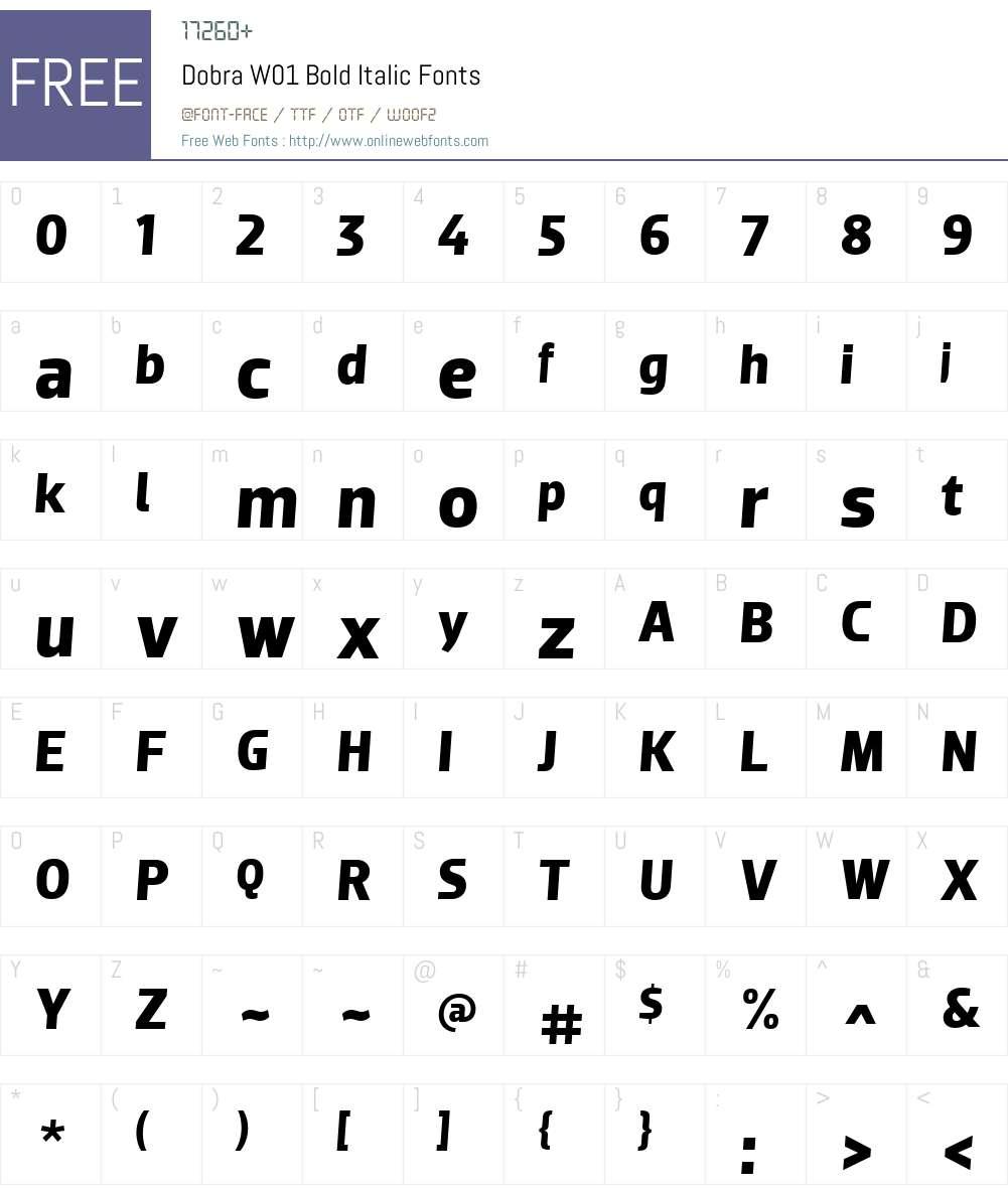 DobraW01-BoldItalic Font Screenshots