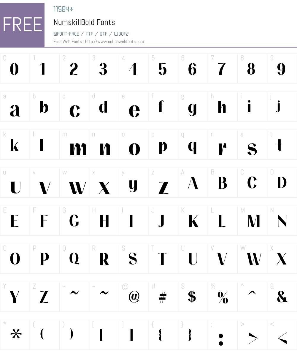 NumskillBold Font Screenshots