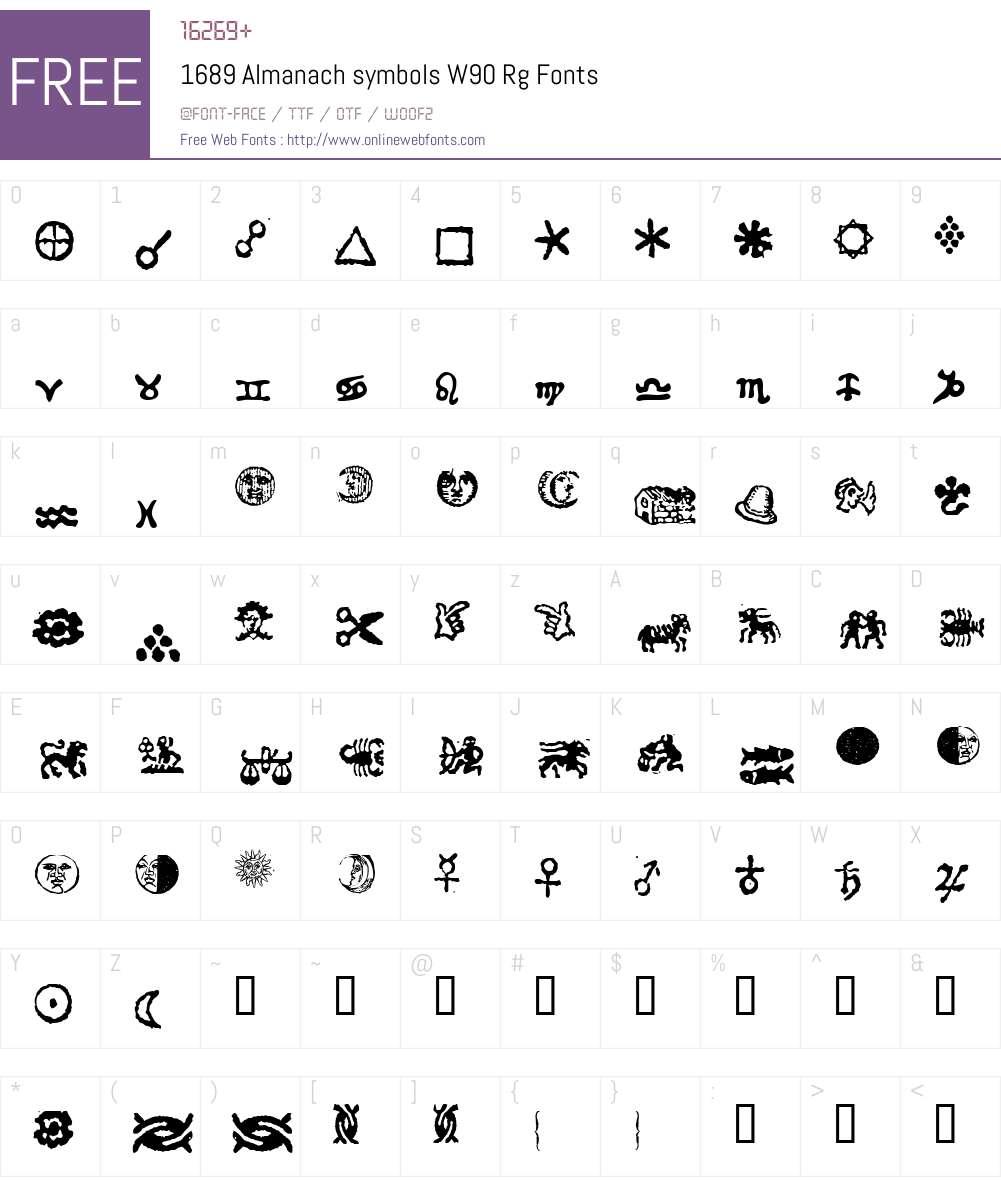 1689 Almanach symbols Font Screenshots