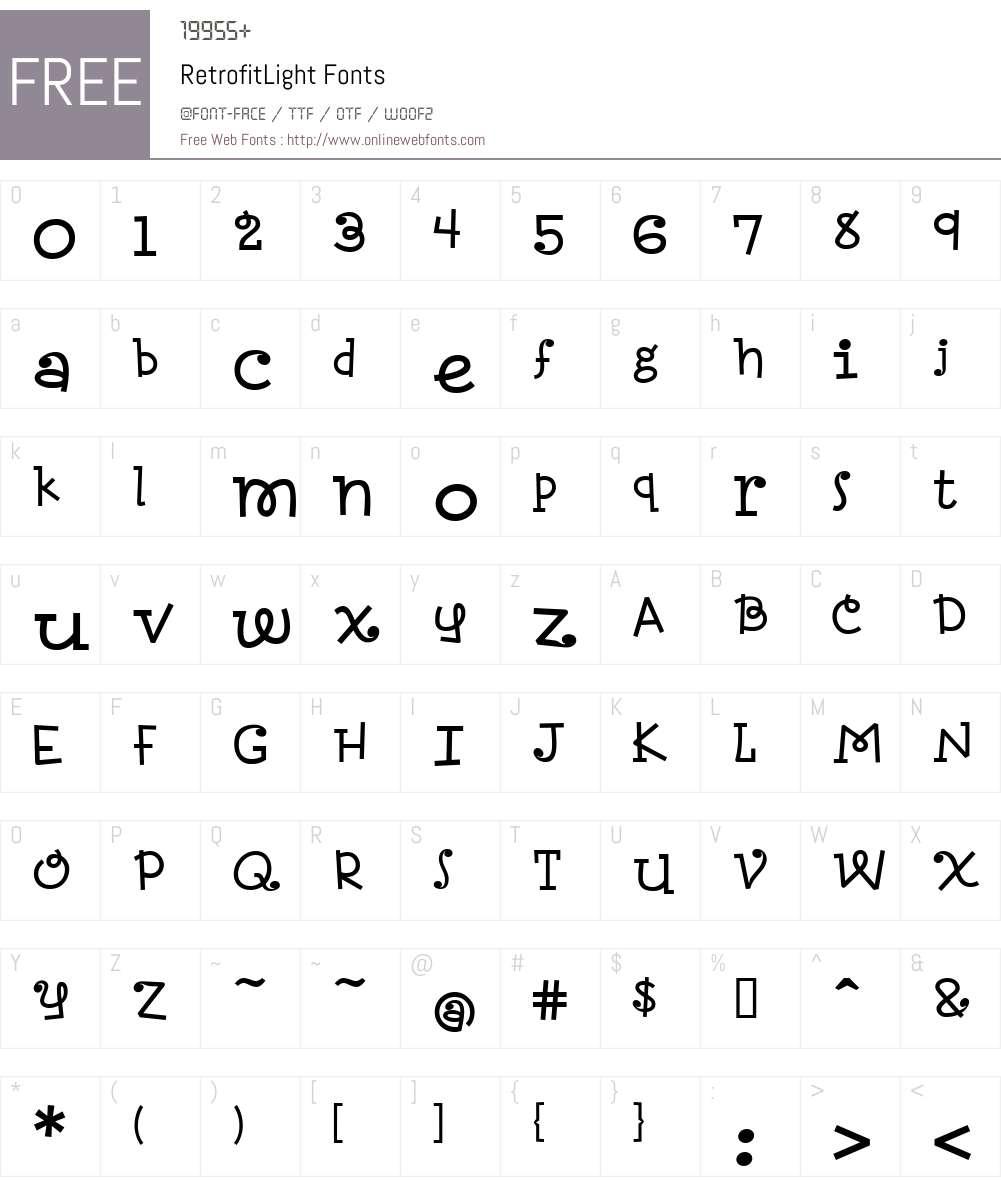 RetrofitLight Font Screenshots