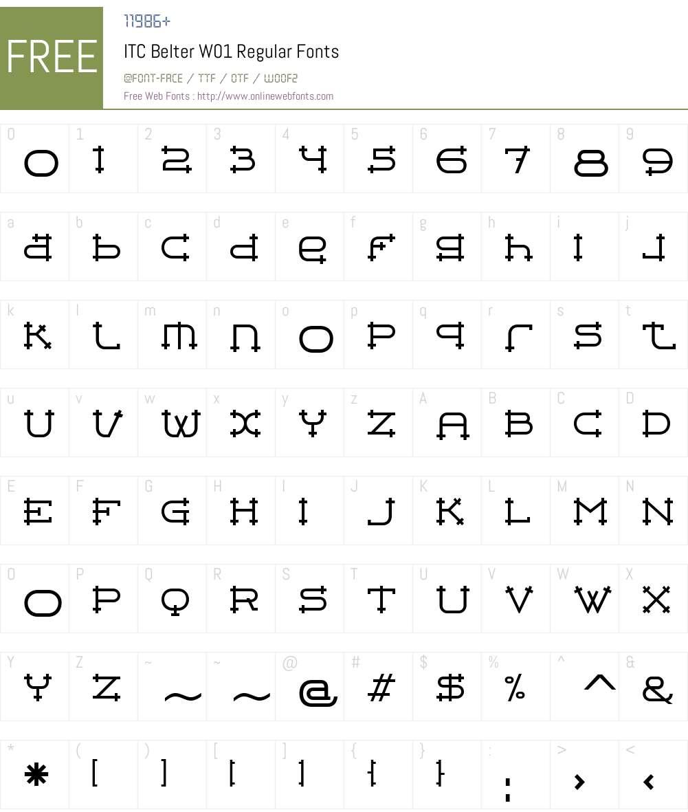 ITCBelterW01-Regular Font Screenshots